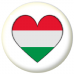 Hungary Country Flag Heart 25mm Button Badge